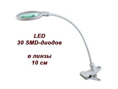 Лампа-лупа настольная LED 3D (на прищепке)